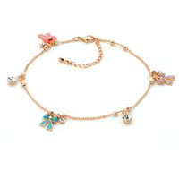 Bracelets - lovely 18 kgold multi color bowknot dangle anklet lobster clasp bracelet Image.