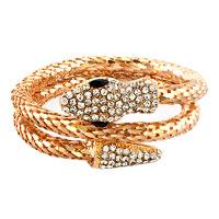 relation - gold plated vintage dragon double snake head multi strands bracelet for men Image.