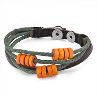 Man's Jewelry - multi strand orange beads on yellow green rope dark brown leather wrap bracelet Image.