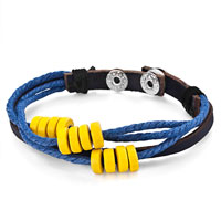 Man's Jewelry - mothers day gifts multi strand yellow beads on blue rope dark brown leather wrap bracelet Image.