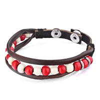 Bracelets - red white beads on rope brown leather cotton wrap bracelet Image.