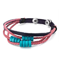 Bracelets - multi strand blue beads on pink rope dark brown leather wrap bracelet Image.