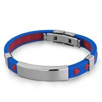 Bracelets - royal blue& amp; hot pink silica gel overlapped forming hearts rectangle bracelet licensed charm bracelet Image.