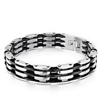 Bracelets - punk men' s bracelet linked 3  row black rubber wave Image.