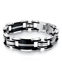 Bracelets - 10  links linked rubber rectangle men' s bracelet Image.