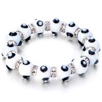 Bracelets - evil eyes bracelets murano glass evil eye beads clear white swarovski elements Image.