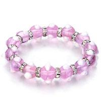 Bracelets - evil eyes bracelets glass eye beads pink swarovski bracelet women Image.