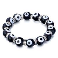 Bracelets - evil eyes bracelets glass eye beads black swarovski evil bracelet Image.