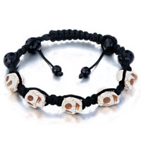 New Year Deals - white shamballa bracelet halloween skull black beads on cotton rope Image.