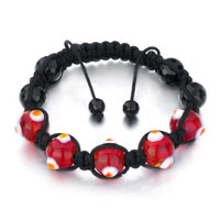 New Year Deals - shamballa bracelet red against dots black beads on cotton rope Image.