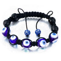 Bracelets - shamballa bracelet blue evil eyes beads on black cotton rope Image.