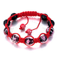 New Year Deals - shamballa bracelet siam pink flower black beads on red cotton rope Image.