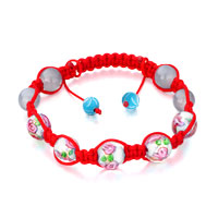 New Year Deals - shamballa bracelet pink blue pale beads on red cotton rope Image.