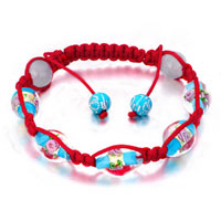 New Year Deals - shamballa bracelet aquamarine pale beads on red cotton rope Image.
