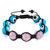 Bracelets - shamballa bracelet evil eye blue murano glass & light rose ball Image.