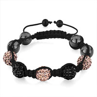 Man's Jewelry - shamballa bracelet black light peach disco ball adjustable Image.