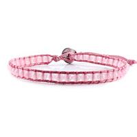 Bracelets - light pink beads on leather turquoise wrap bracelet snap button lock bracelets women Image.