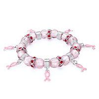 Gifts Center - breast cancer awareness charm beads clear white swarovski crystalribb drip pink ribbon stretch bracelets Image.