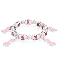 Gifts Center - metal murano glass flower beads dangle pink drip ribbon bracelets Image.