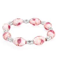Gifts Center - beautiful light pink oval murano glass beads pretty flower stretch bracelets Image.