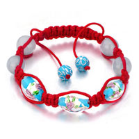 New Year Deals - shamballa bracelet blue pale beads on red cotton rope Image.