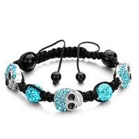 Bracelets - shamballa bracelet aquamarine crystal disco ball halloween skull Image.