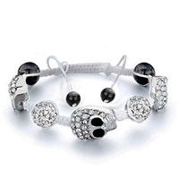 Man's Jewelry - shamballa bracelet clear crystal disco ball halloween skull Image.