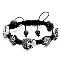Man's Jewelry - shamballa bracelet black crystal disco ball halloween skull Image.