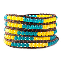 Bracelets - yellow blue stone brown leather wrap bracelet button adjustable Image.
