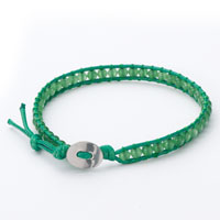 Bracelets - emerald green beads on leather turquoise wrap bracelet snap button lock bracelets women Image.