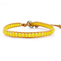 Bracelets - yellow stone leather circle wrap bracelet metal button adjustable chip Image.