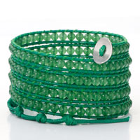 Bracelets - pure green beads on leather turquoise wrap bracelet snap button lock bracelets women Image.
