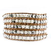 Bracelets - pale yellow stone gray cotton wrap bracelet button adjustable chip Image.