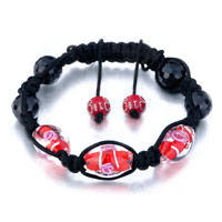Bracelets - shamballa bracelet red black beads on cotton rope Image.