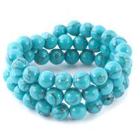 Bracelets - wrap turquoise round beaded stretch bracelets Image.