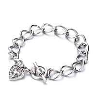 Bracelets - linked curb chain dangle heart bracelet Image.