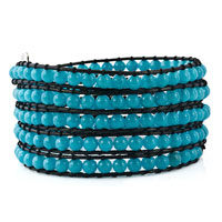 Bracelets - aquamarine blue stone on black leather wrap bracelet Image.