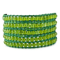 Bracelets - peridot green stone on leather wrap bracelet Image.