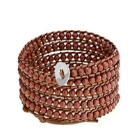Bracelets - brown beads on leather turquoise wrap bracelet snap button lock bracelets women Image.