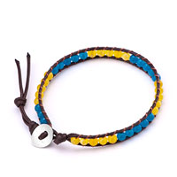 Bracelets - yellow blue stone on brown leather wrap bracelet Image.