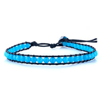 Bracelets - aquamarine blue stone on black leather wrap bracelet Image.