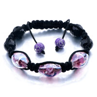 New Year Deals - shamballa bracelet pink purple black murano glass beads crystal Image.