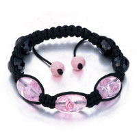 New Year Deals - shamballa bracelet pink black beads adjustable lace Image.