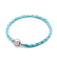 Charms Beads - aquamarine blue leather cape cod bracets bracelet wrist chain bracelet Image.