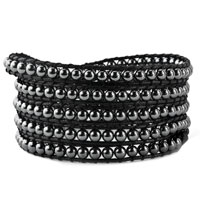 Man's Jewelry - black stone on leather wrap bracelet bracelets Image.