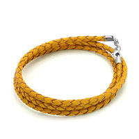 Bracelets - snake chains topaz yellow leather woven beads charms bracelets fit all brands Image.