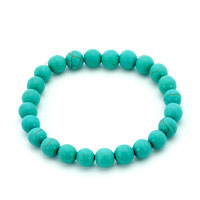 Bracelets - genuine turquoise gemstone chunky stretch bracelet Image.
