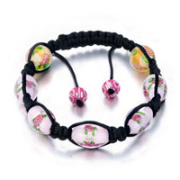 New Year Deals - shamballa bracelet pink rose pattern beads crystal Image.
