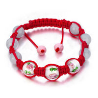 Bracelets - shamballa bracelet pink murano glass on red cotton rope Image.