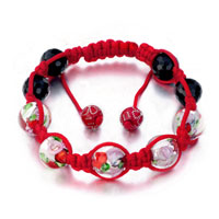 New Year Deals - shamballa bracelet pink flower black on red cotton rope beads Image.